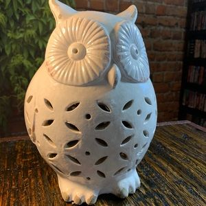 Pottery Barn Ceramic Barn Owl Luminary Rustic